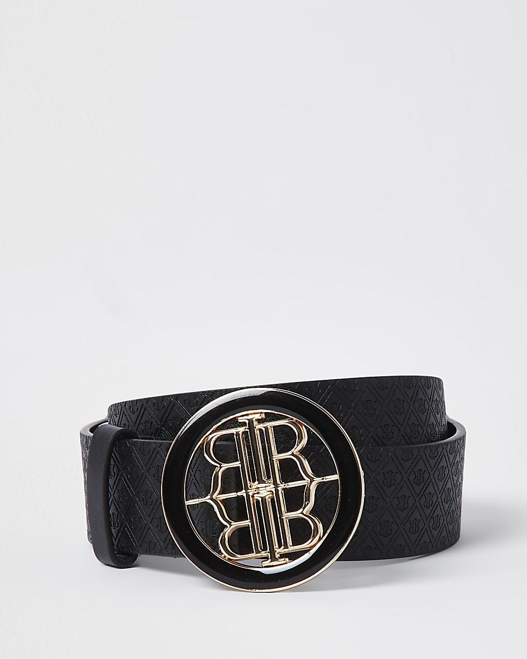 Black RI monogram embossed buckle belt