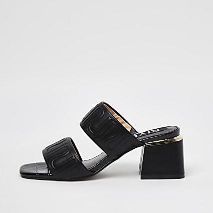 Black RI monogram embossed heeled mules