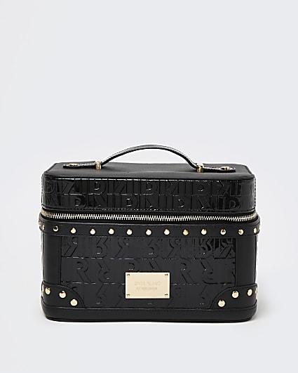 Black RI monogram embossed makeup bag