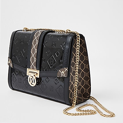 Black RI monogram embossed patent bag