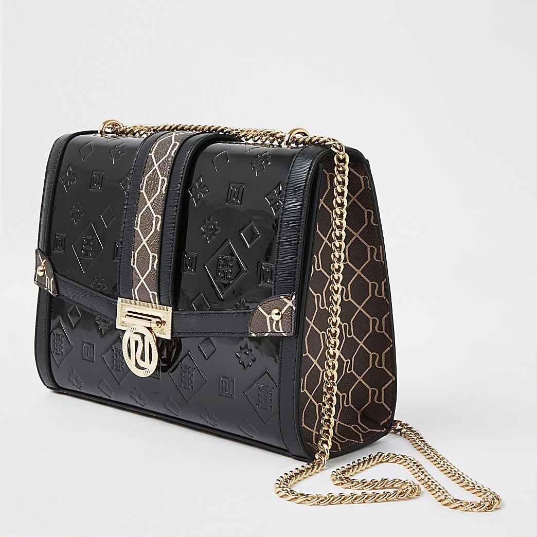 Black RI monogram embossed patent handbag