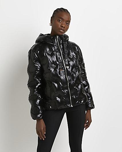 Black RI monogram embossed puffer coat
