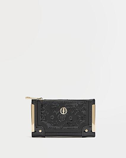 Black RI monogram embossed purse