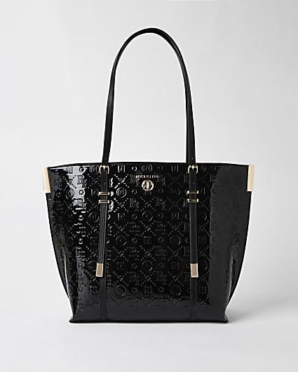 Black RI monogram embossed shopper bag