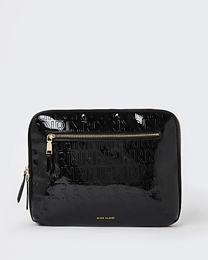 Black RI monogram embossed tablet case