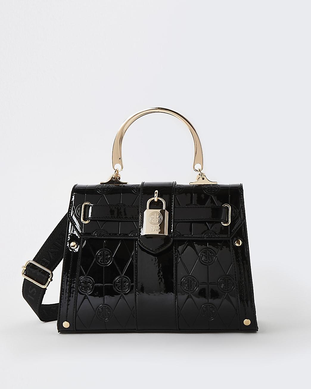 Black RI monogram embossed tote bag