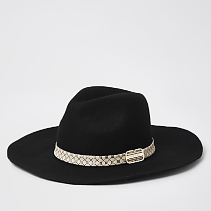 Black RI monogram Fedora hat