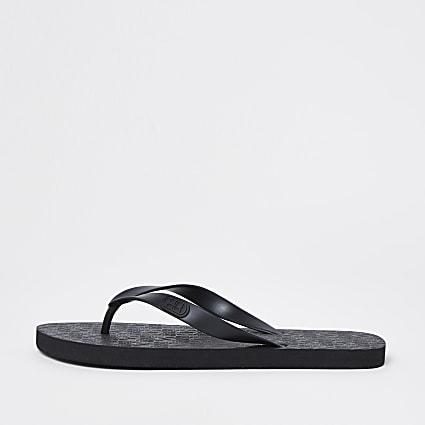 Black RI monogram flip flops