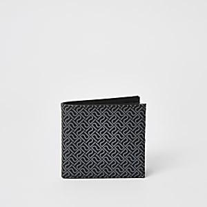 Portefeuille noir à monogramme RI et rabat