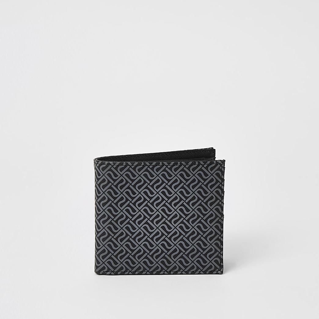 Zwarte uitvouwbare portemonnee met RI-monogram