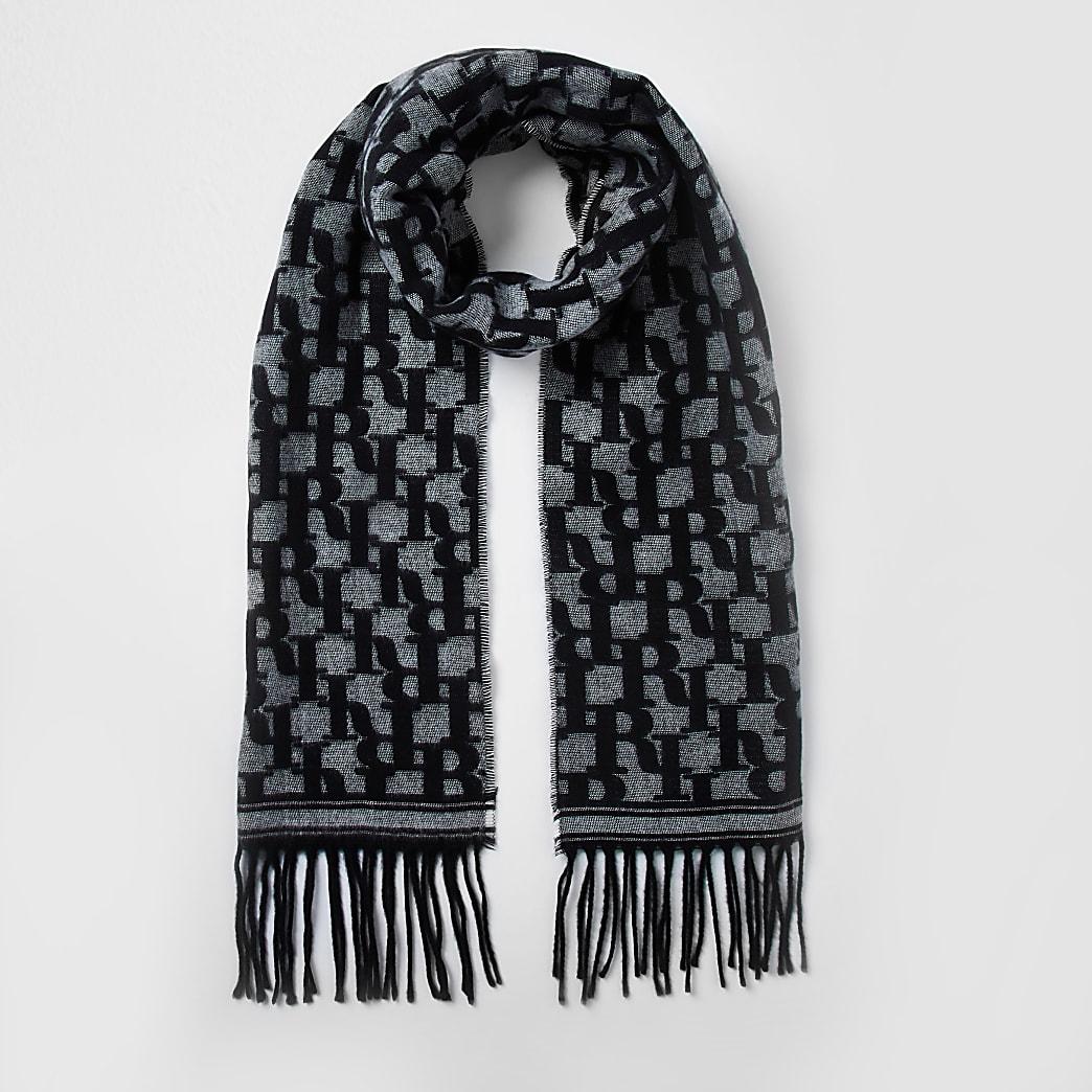 Black RI monogram fringe scarf
