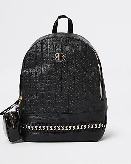 Black RI monogram gold chain backpack