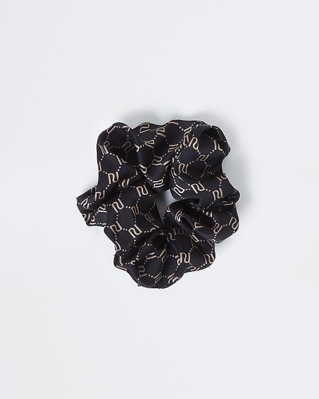 Black RI monogram hair scrunchie