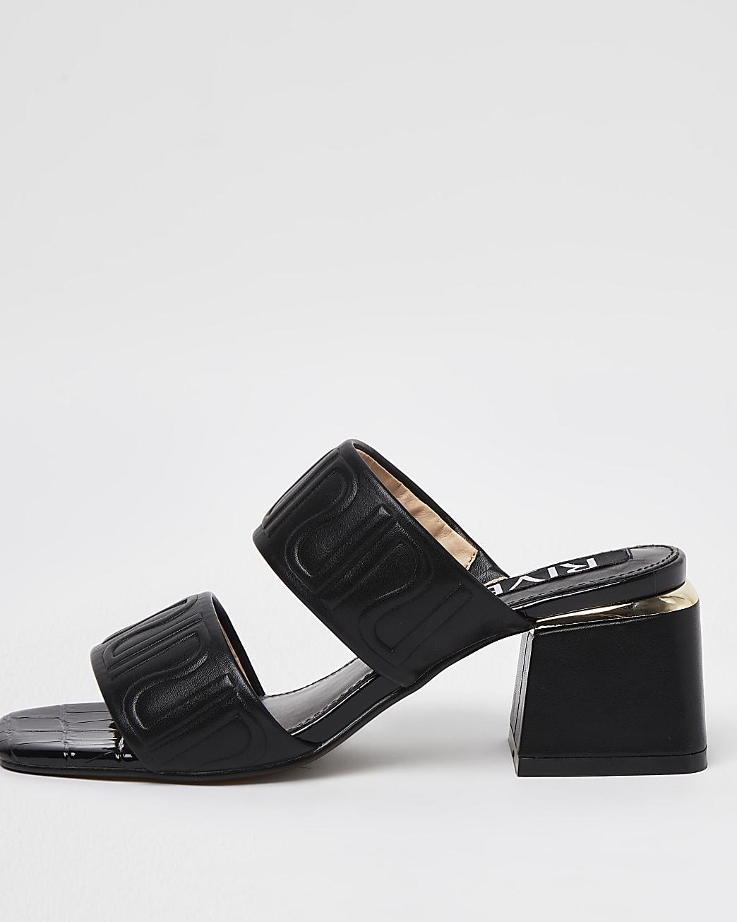 Black RI monogram heeled mules