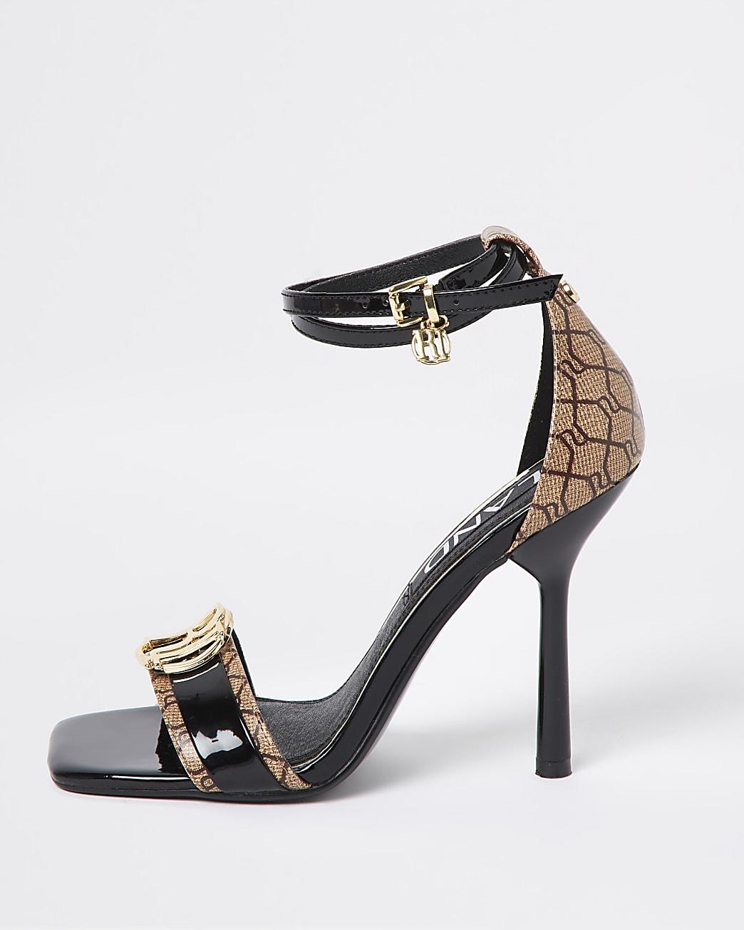 Black RI monogram high heel