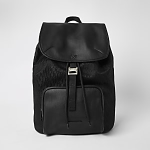 Black RI Monogram Jacquard Backpack