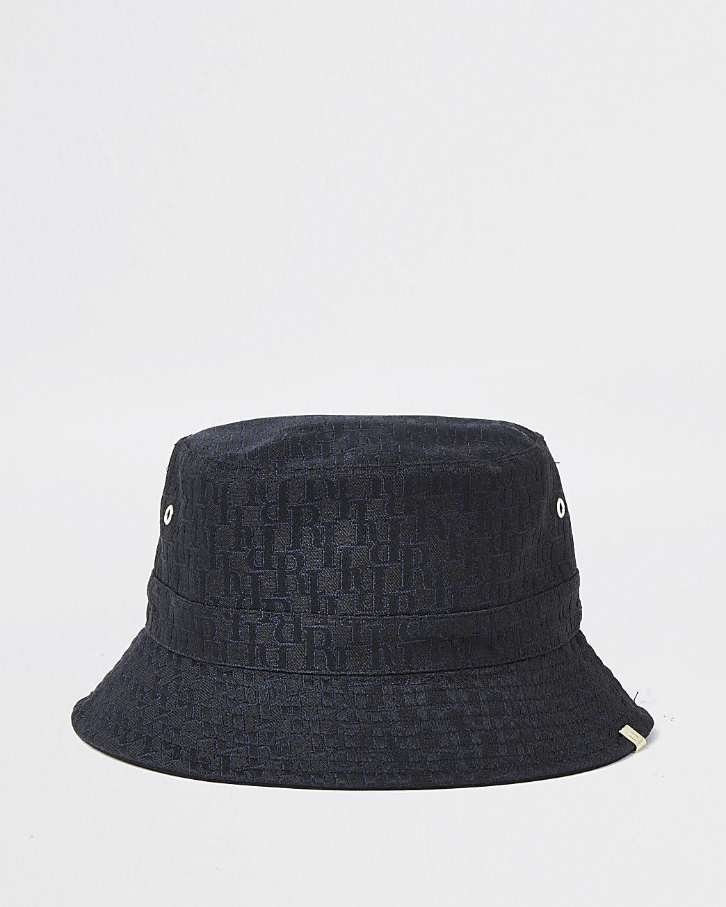 Black 'RI' monogram jacquard bucket hat