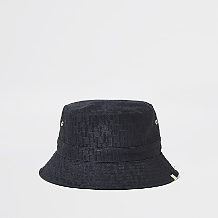 Black 'RI' monogram jacquard bucket hat