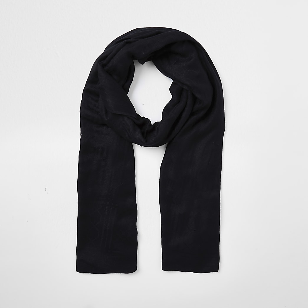Black RI monogram jacquard scarf