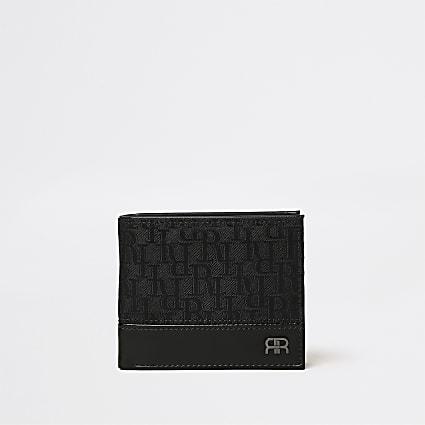 Black RI monogram jacquard wallet