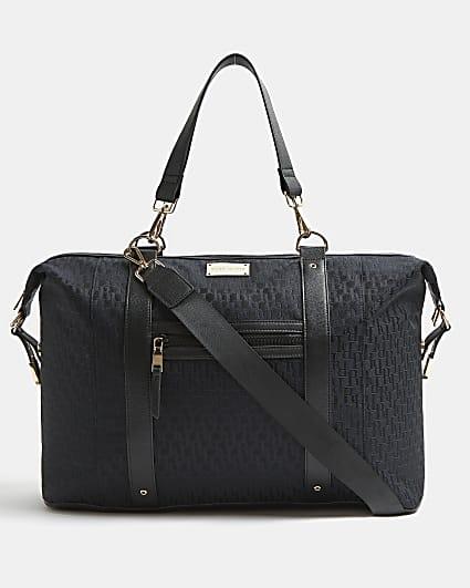 Black RI monogram jacquard weekend bag