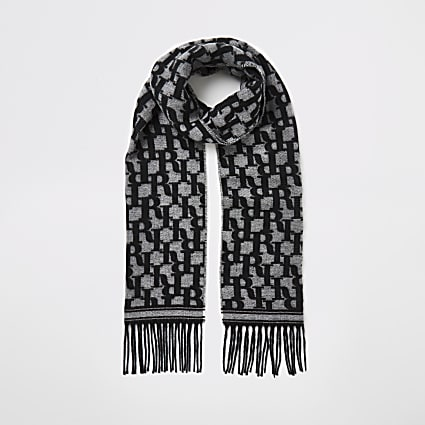 Black RI monogram knitted scarf