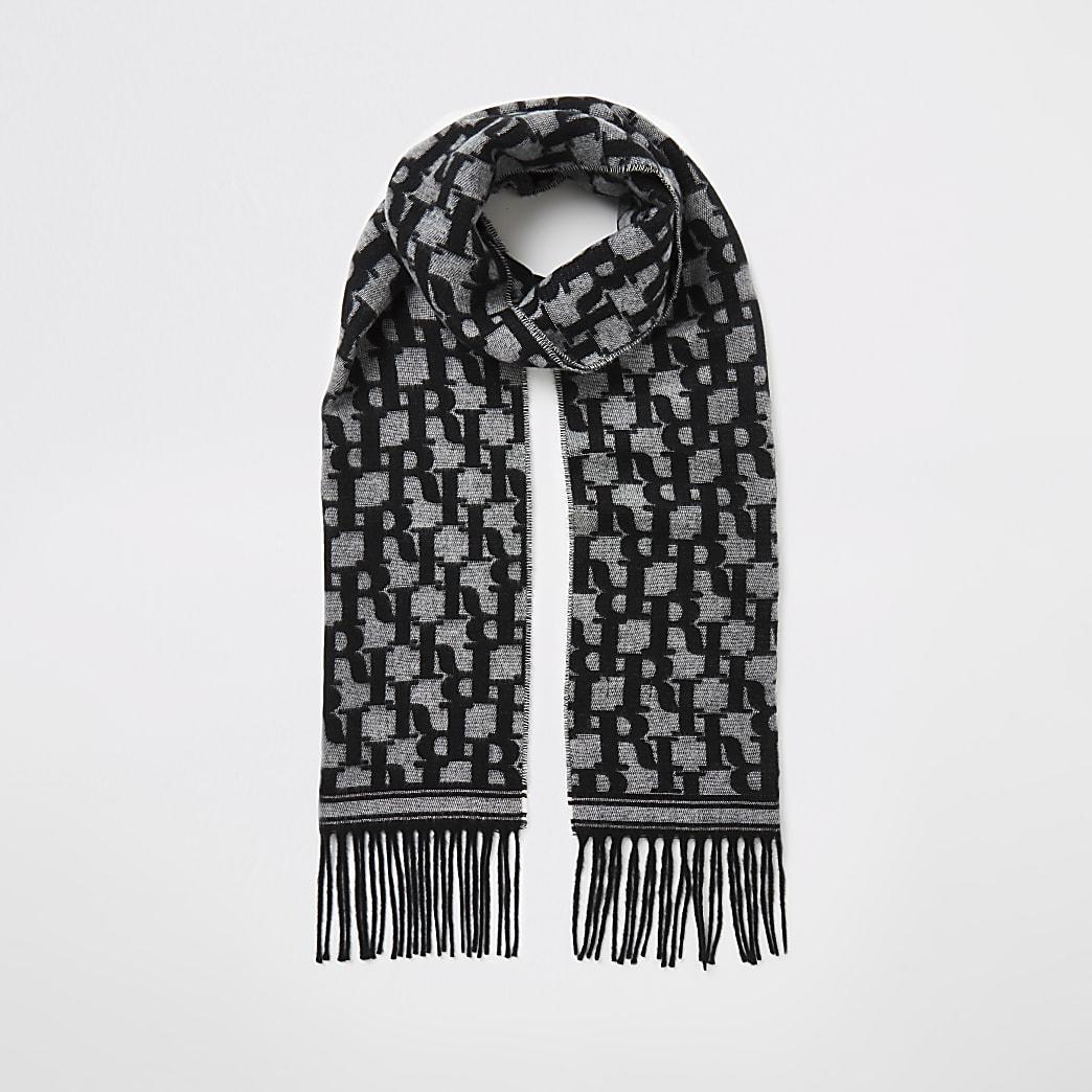 Black RI monogram knitted scarf