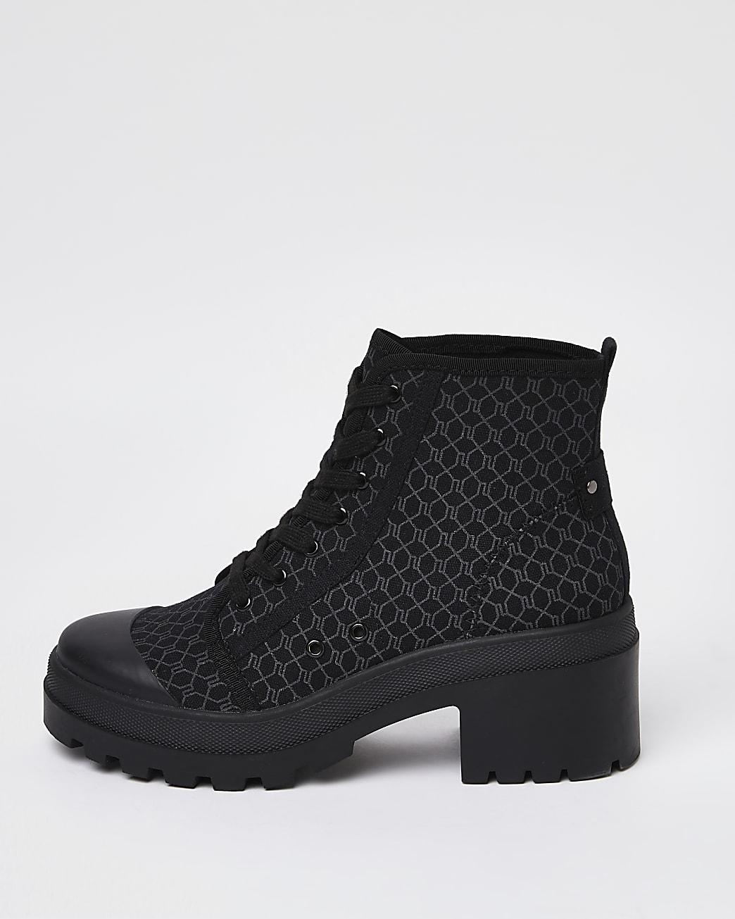 Black RI monogram lace up ankle boots