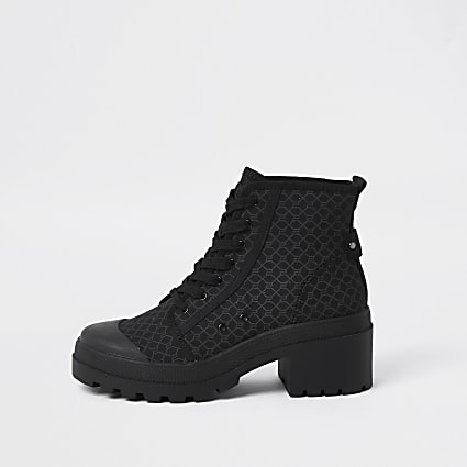 Black RI monogram lace up boots