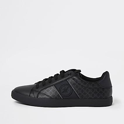 Black RI monogram lace up trainers