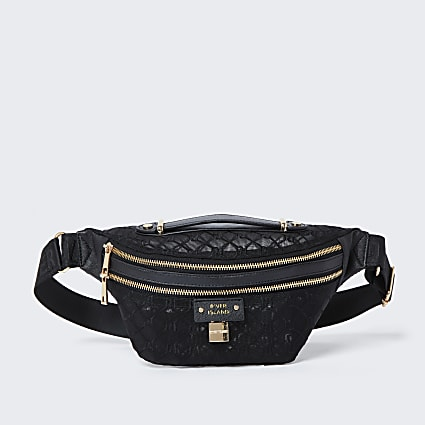 Black RI monogram mesh belt bag