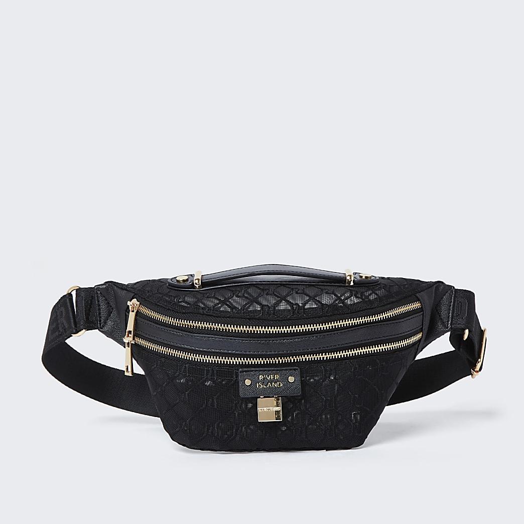 Black RI monogram mesh belt bag