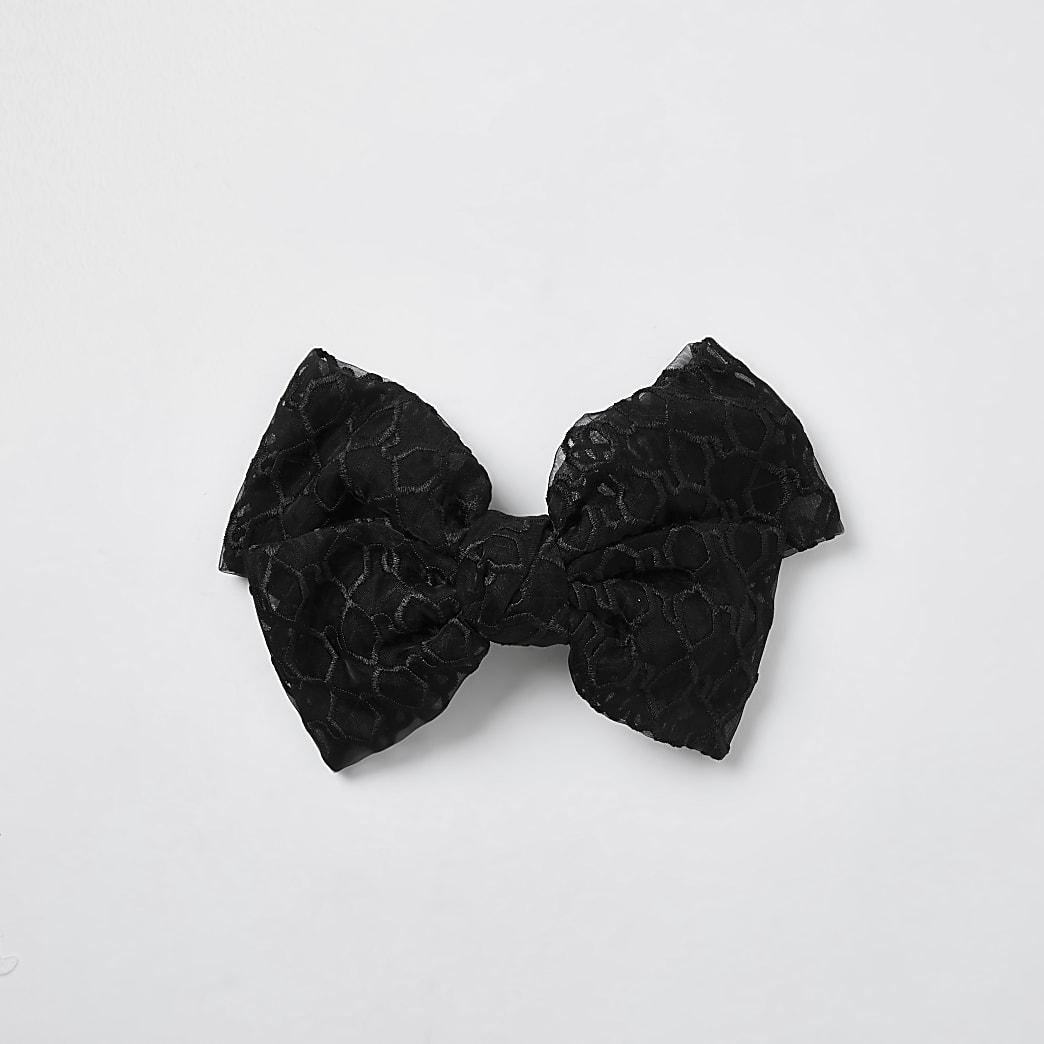 Black RI monogram mesh bow clip