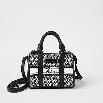 Black RI monogram mini bowler crossbody bag