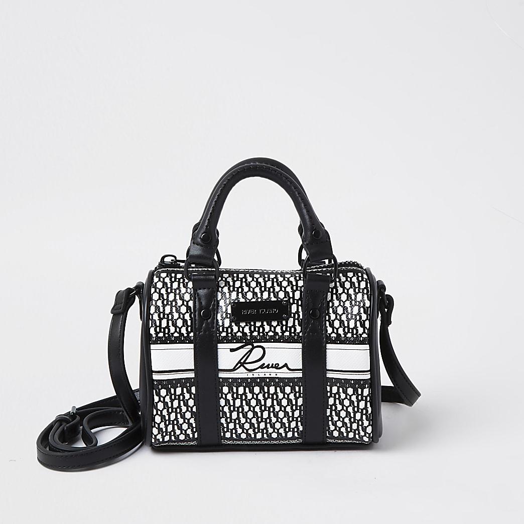 Black RI monogram mini bowler crossbody bag