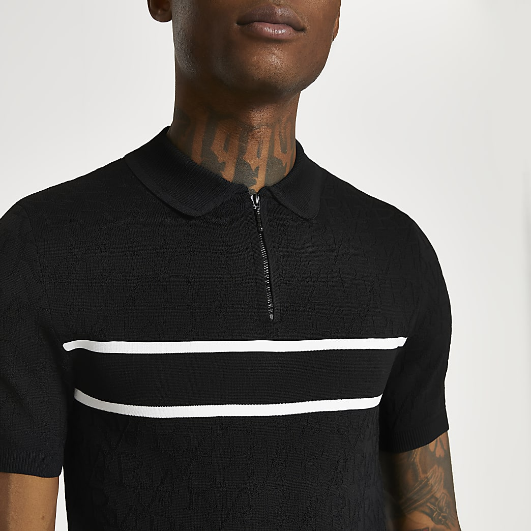 Black RI monogram muscle fit polo shirt