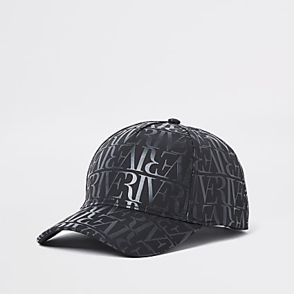 Black RI monogram nylon cap