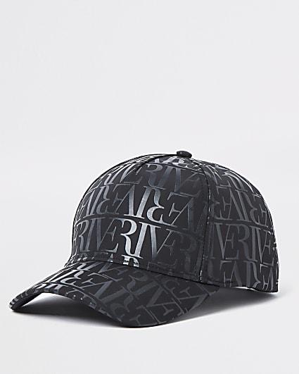 Black RI monogram nylon cap