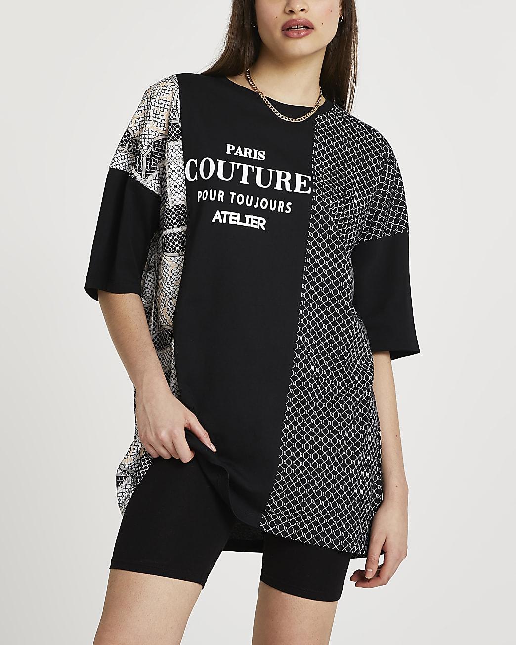 Black RI monogram oversized t-shirt