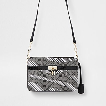 Black RI monogram padlock crossbody bag