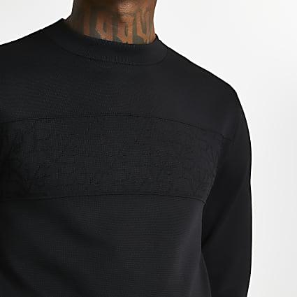 Black RI monogram panel jumper