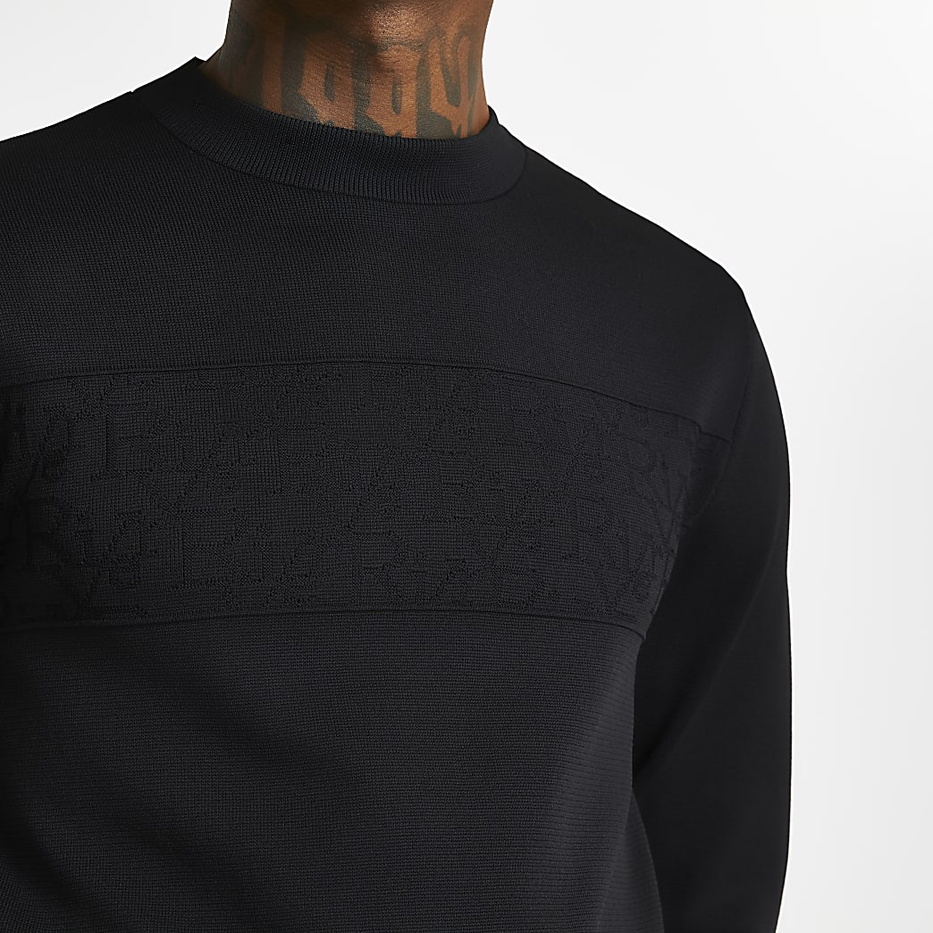 Black RI monogram panel jumper