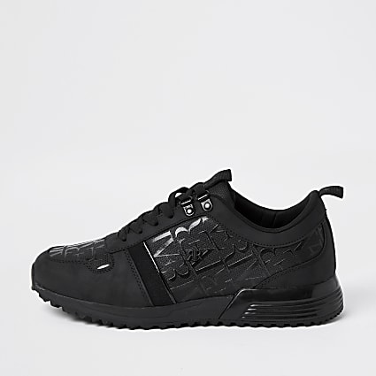 Black RI monogram panel runner trainers