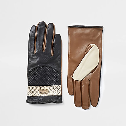 Black RI monogram panelled gloves