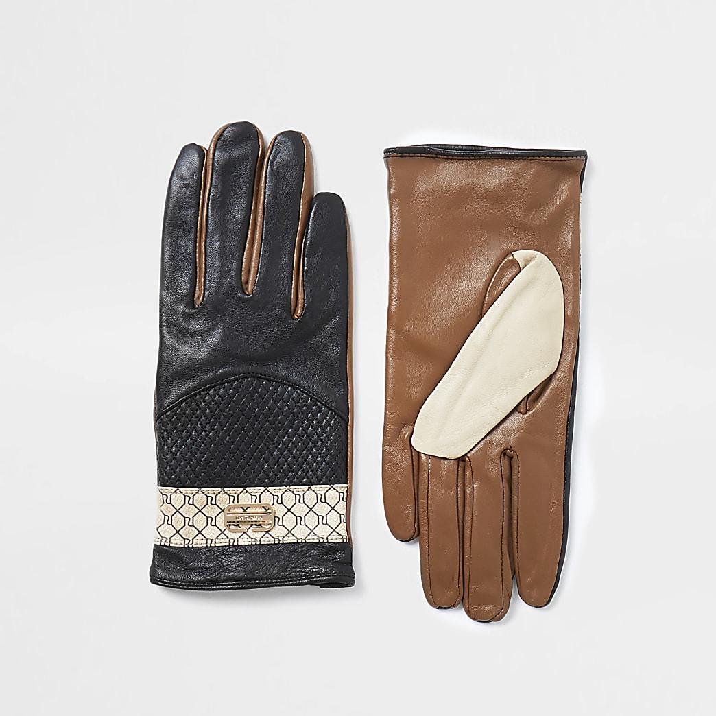 Black RI monogram panelled gloves