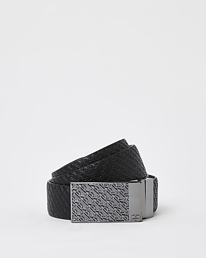 Black RI monogram plate buckle belt
