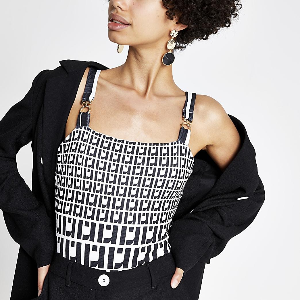 Black RI monogram print bodysuit