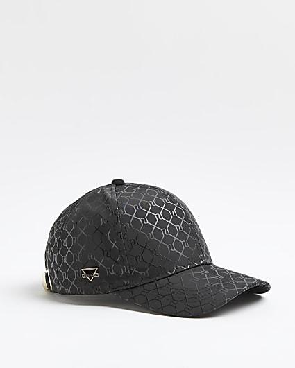 Black RI monogram print cap