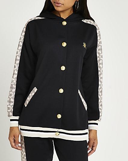 Black RI monogram print hoodie