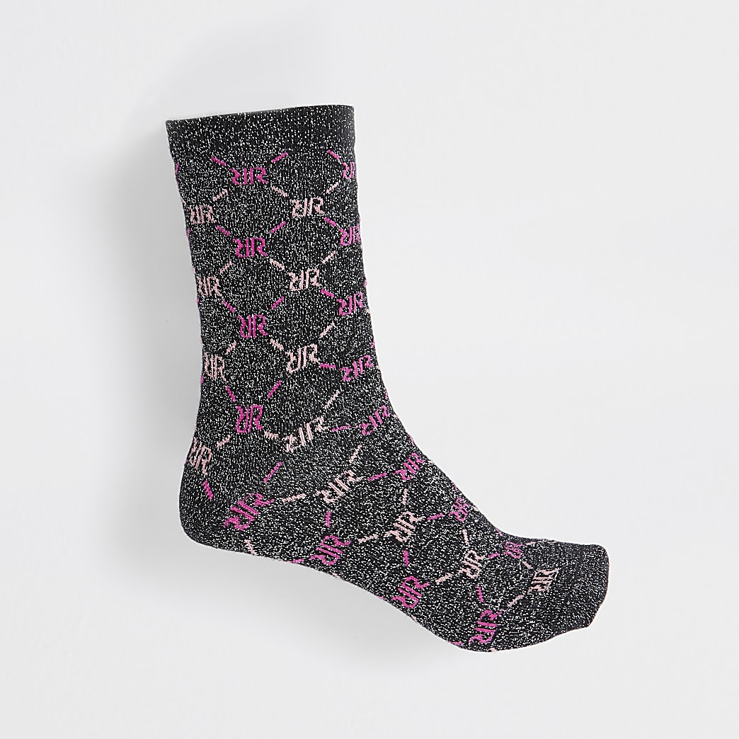 Black RI monogram print lurex sock